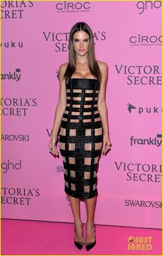 adriana lima alessandra ambrosio victoria secret fashion show after party 09 Adriana Lima shows off her midriff while hitting the 2014 Victoria's Secret Fashion Show After Party held at Earls Court Exhibition Centre on Tuesday (December…