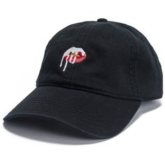 Lips Dad Hat Black (2.000 RUB) ❤ liked on Polyvore featuring accessories, hats, headwear and kylie jenner