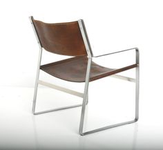Hans J. Wegner; #813 Chromed Steel and Leather Arm Chair for Johannes Hansen, 1970.