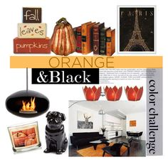 """Orange&Black"" by clotheshawg ❤ liked on Polyvore featuring interior, interiors, interior design, home, home decor, interior decorating, WALL, Quail, Avon and Improvements"