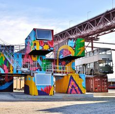 Village Underground Lisboa: Abandoned shipping containers turned into a creative hub and outdoor event space on Lisbon's northern edge
