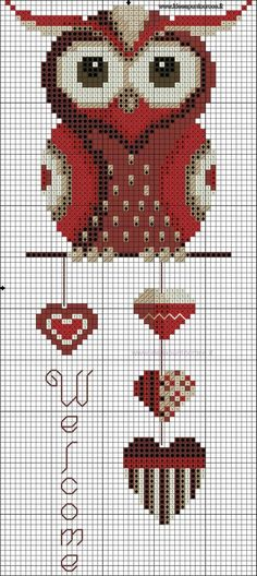 Créer Ses Grilles De Point De Croix : créer, grilles, point, croix, Idées, Point, Croix, Chouettes, Croix,, Chouette