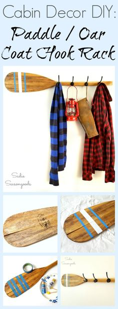 Vintage canoe paddle oar repurposed and upcycled into a DIY coat hook rack for Cabin decor by Sadie Seasongoods / www.sadieseasongoods.com