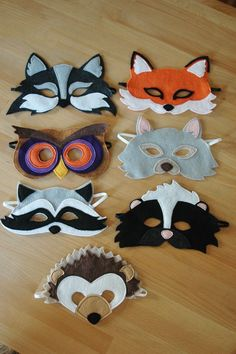 Raccoon Mask and Tail Set by littlegiantleap on Etsy Kids Crafts, Felt Crafts, Arts And Crafts, Raccoon Mask, Owl Mask, Sewing For Kids, Diy For Kids, Animal Masks, Mask For Kids