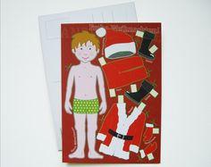 Nikolaus & Weihnachtsmann - Postkarte -WEIHNACHTSJUNGE- - ein Designerstück von Fische-und-Schafe bei DaWanda