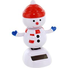 This frosty snowman, bundled up with a scarf and red cap, celebrates the advent of Winter and the holiday season by dancing a joyous jig!  Because he gets his energy from light, he'll dance indefinitely when exposed to the rays of the sun - but don't worry, he won't melt!
