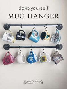 Today I'm going to walk you through how to make your very own industrial-style pipe mug holder with just a few materials that will make your kitchen POP! Coffee Cup Storage, Coffee Mug Display, Coffee Mug Holder, Halloween Bottles, Halloween Mug, Shanty 2 Chic, Slab Roller, Pottery Lessons, Small Kitchens