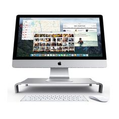 Premium Aluminum Monitor Stand Table Durable & Stylish Design Silver Color #Anyclear