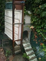 chicken coop...why not? was gonna throw the dresser away , why not use it, used cheap exterior paint on it , and  there you go!~