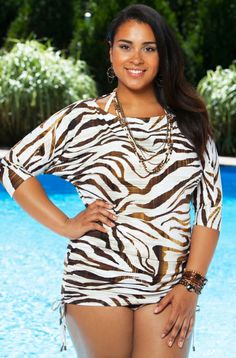 Safari Sari Cover Up Style #SSA424 or Bayou Cover Up Style #3BA424 is the perfect plus size cover up to complement to the Simply Sole' plus size swimwear collection, Bayou Swim dress style #3BA