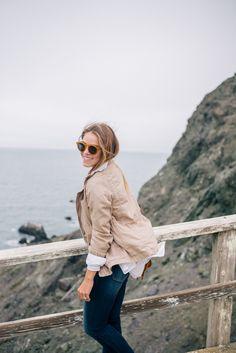 Gal Meets Glam Misty Views - Old Navy jacket & shirt, tee, jeans, & flats c/o & Illesteva sunglasses