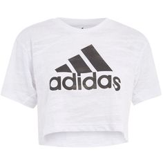 Aero Knitted Crop T-Shirt by Adidas Performance ($52) ❤ liked on Polyvore featuring tops, t-shirts, white, logo top, polyester t shirts, white logo t shirts, logo t shirts and white tee