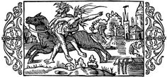 """""""The Devil Carrying Off A Witch"""" from """"Historia de Gentibus Septentrionalibus"""" Book III, illustrated by Olaus Magnus, c. 1555.  This woodcut illustrates a story of a witch from England. As a punishment for her evil deeds, all her family died. In her despair, she asked to be buried alive. To the right we see the empty sarcophagus she was buried in and the three chains that sealed it. The grave was broken up and the Devil now takes her away on his horse."""