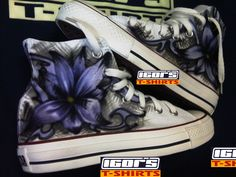 airbrushed shoes and tupac chuck taylors: Purple flower airbrushed on Converse Chuck Taylor shoes
