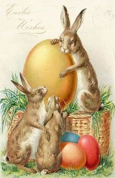 vintage Easter bunny and eggs postcard