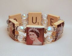 QUEEN ELIZABETH II / Bracelet / Royal Family / Queen's Jubilee / Upcycled / Scrabble Jewelry. $18.00, via Etsy.