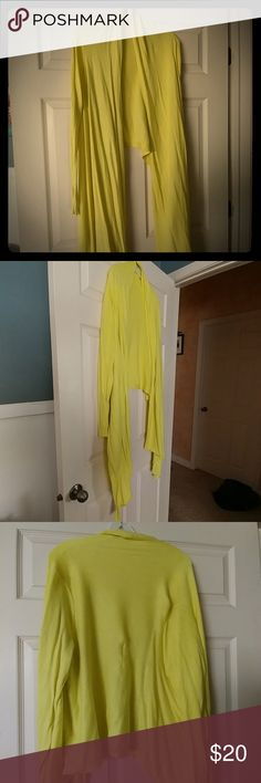 Yellow cardigan Yellow cardigan. Long sides, drape down to knees. Moda International Sweaters Cardigans