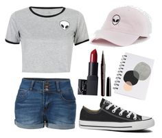 """"" by mint-pastel ❤ liked on Polyvore featuring WithChic, LE3NO, Converse and Marc Jacobs"