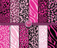 Digital Paper Pink Animal Print Clip Art Printable by YenzArtHaut, $5.00