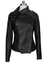 Black Long Sleeve Zipper PU Leather Coat $56.16 #SheInside