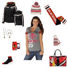 Chicago Blackhawks Outfit www.fansedge.com/Chicago-Blackhawks-Womens-Apparel-_-928074278_PG.html?social=pinterest_wwls_blackhawks