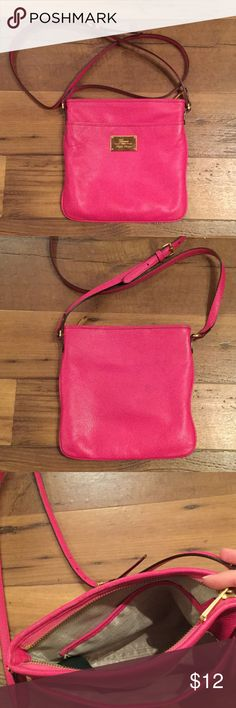 Ralph Lauren pink crossbody purse Perfect for spring and summer! Pink Ralph Lauren crossbody. Has front pocket to slip phone in and a zip close inside. Gold accents. Has light marks on the front and light jean smudge on the back. Make me an offer :) Lauren Ralph Lauren Bags Crossbody Bags