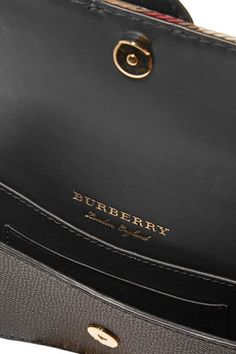 Burberry - Canvas-trimmed Patent And Textured-leather Shoulder Bag - Black - one size
