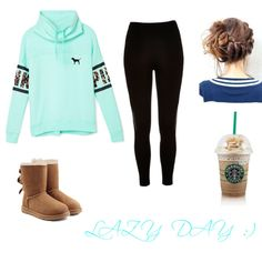 LAZY DAY :) by camposjessicad on Polyvore featuring polyvore, fashion, style, Victoria's Secret PINK, River Island and UGG Australia