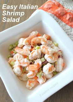 If you are looking for a light and delicious tasting shrimp salad, then this recipe is for you! Easy Italian Shrimp Salad is a classic seafood dish you can enjoy eating anytime of the year. Mom's shrimp salad is so amazingly light, it's made with Shrimp Salad Recipes, Seafood Salad, Shrimp Dishes, Fish Recipes, Seafood Recipes, Cooking Recipes, Healthy Recipes, Seafood Appetizers, Shrimp Meals