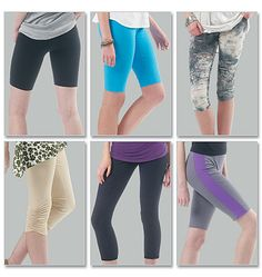 Misses'/Women's Leggings In 4 Lengths plus size make them all with less than 2 yards of fabric