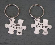Puzzle Piece Key Chain Set Anniversary Gifts for by MadiesCharms, $44.95
