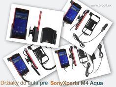 Nové držiaky do auta pre Sony Xperia M4 Aqua. Pasívny držiak Brodit pre pevnú montáž v aute, aktívny s CL nabíjačkou, s USB alebo s Molex konektorom.