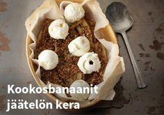 Kookosbanaanit jäätelön kera, Resepti: Valio #kauppahalli24 #kookos #banaani #jäätelö #jälkiruoka #verkkoruokakauppa #ruokaanetistä Cereal, Breakfast, Desserts, Food, Morning Coffee, Tailgate Desserts, Deserts, Eten, Postres