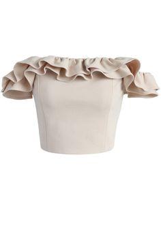 Chicwish Precious Moment Ruffled Off-shoulder Crop Top in Beige Beige Crop Tops, Beige Top, Cropped Tops, Beige Shirt, Off Shoulder Crop Top, Shoulder Shirts, Mode Top, Frill Tops, Rock Shirts