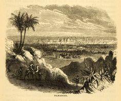 1872 Wood Engraving DamascusJasmine Syria Sham Damascene Mosque Palace XGK6