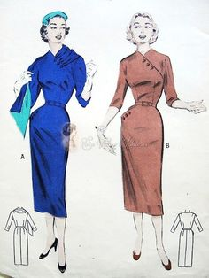 1950s Slim Wiggle Sheath Dress Vintage Sewing Pattern Butterick 6674 Unique Button On Stole, Oblique Motif Of Button Closing On Bodice & Side Pocket Factory Folded Bust 30