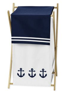 Anchors Away Collection Hamper Blue and White Nautical Themed Clothes Hamper - http://www.childrensbeddingboutique.com/anchors-away-collection-hamper.aspx