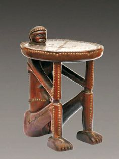 """Africa   """"mbenza ya ngana"""" ~ throne / prestige stool from the Songo people of Angola   Wood, brass and pigment"""