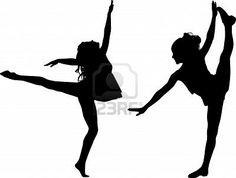 Silhouette dance children Stock Photo stage