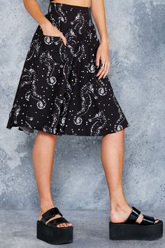 Seahorse Ghost Yoke Midi Skirt - LIMITED ($110AUD) by BlackMilk Clothing
