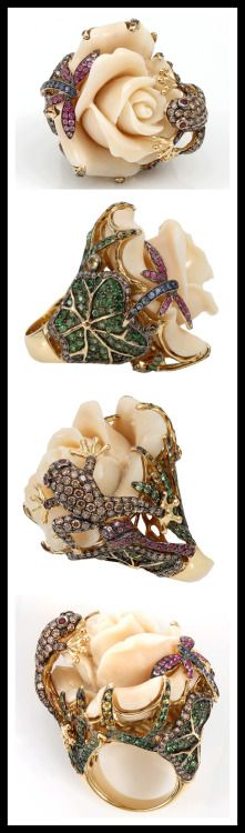 Wendy Yue Carved Agate Flower Ring. More info:... | Diamonds in the Library