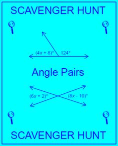 Angle Pairs - Scavenger Hunt/Circuit from MarieDompierre on TeachersNotebook.com -  (10 pages)  - Angle Pairs, Scavenger Hunt, Circuit, Cooperative Learning, Vertical Angles, Complementary Angles, Supplementary Angles, Linear Pairs