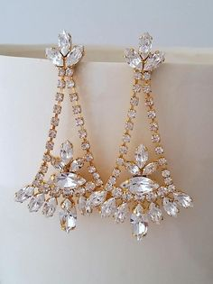 Bridal earrings,Bridal Chandelier earrings,White Crystal Bridal earrings,Long earring,Statement earrings,Swarovski earrings,Wedding Jewelry by Tina Eldor | http://etsy.me/2o2Lgk6