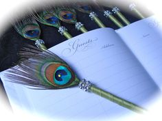 25 PEACOCK Feather Pen Favors with BLING in Your by Ivyndell, $100.00