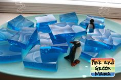 "Pink and Green Mama: * Penguin Party Birthday Cake and Jello Jiggler ""Ice"" Blocks"
