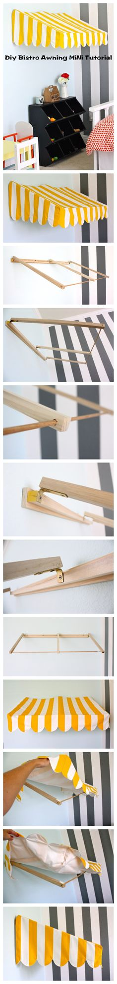 Diy Bistro Awning MiNi Tutorial We wanted it to be lightweight so it would hang easily on the wall…. Cardboard Dollhouse, Diy Cardboard, Diy Dollhouse, Dollhouse Furniture, Barbie Furniture Tutorial, Diy Awning, Cute Furniture, Christmas Program, Barbie House