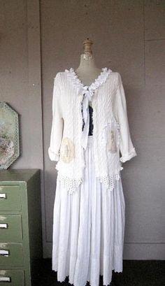 MXL upcycled clothing shrug Romantic white by lillienoradrygoods, $49.50 by mariana
