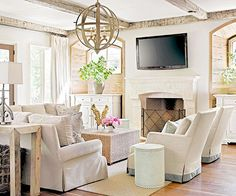 I've been trying to rearrange our family room furniture to make for better flow in the long narrow space. I wanted to avoid having the tele...