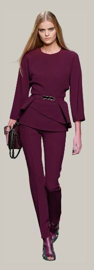 Classic, rich pants and belted top in a rich wine color from Elie Saab. Great for fall with a cinched belt.