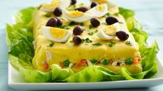 Peruvian Causa Rellena - Add Peruvian flavors to your meal with this layered potato and chicken recipe. A wonderful side dish made using Green Giant® sweet peas. Peruvian Dishes, Peruvian Cuisine, Peruvian Recipes, Causa Rellena Recipe, Good Food, Yummy Food, Tasty, Comida Latina, Vegetarian